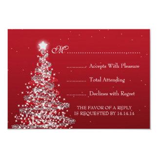 Elegant Christmas Wedding RSVP Red Silver Card