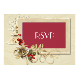 Elegant Christmas Wedding RSVP with Christmas Tree Invitation