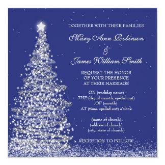 Elegant Christmas Wedding Silver Navy Invitation