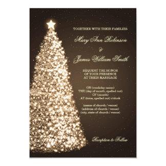 Elegant Christmas Wedding Sparkle Gold Invitation