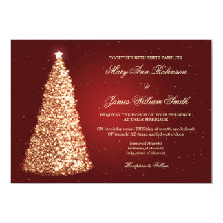 Elegant Christmas Wedding Sparkle Gold Red Invitation