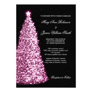 Elegant Christmas Wedding Sparkle Pink Personalized Invitations