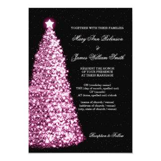Elegant Christmas Wedding Sparkle Pink Invitation
