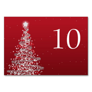 Elegant Christmas Wedding Table Number Red Silver
