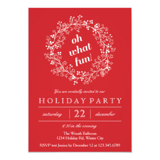 Elegant Christmas Wreath Holiday Party Card