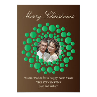 Elegant Christmas Wreath Photo Flat Card - Brown Personalized Announcements