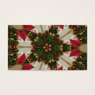 Elegant Christmas Wreath Red Green Kaleidoscopic Business Card