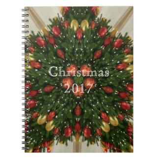 Elegant Christmas Wreath Red Green Kaleidoscopic Spiral Notebook