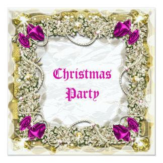"Elegant Christmas wreath snow pink white 5.25"" Square Invitation Card"