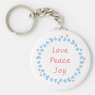 Elegant Christmas Wreath with Blue Hearts Keychain