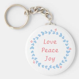 Elegant Christmas Wreath with Blue Hearts Keychain