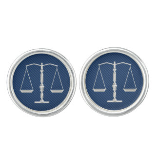 Elegant Chrome Scales of Justice Cufflinks
