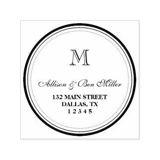 Elegant Circle Monogram Name & Address Self-inking Stamp