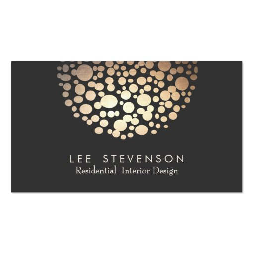 Elegant Circles Gold Sphere Black Modern Double-sided Standard Business Cards (pack Of 100)