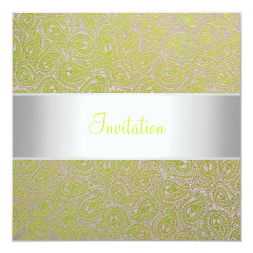 Elegant Citrus Lime Paisley Silver White Party 5.25x5.25 Square Paper Invitation Card