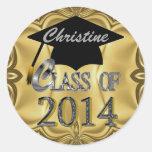 Elegant Class Of 2014 Gold Graduation Stickers
