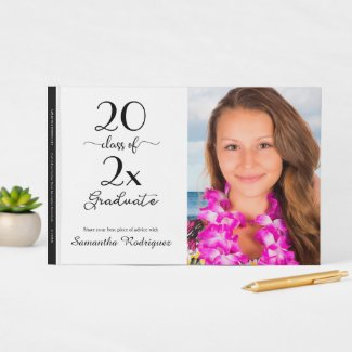 Elegant Class Of 2021 Photo Black White Graduation Guest Book