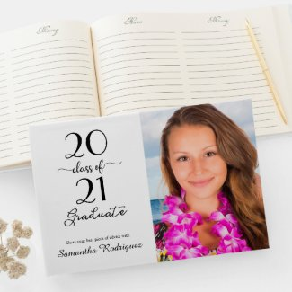 Elegant Class Of 2021 Photo Graduation Guest Book