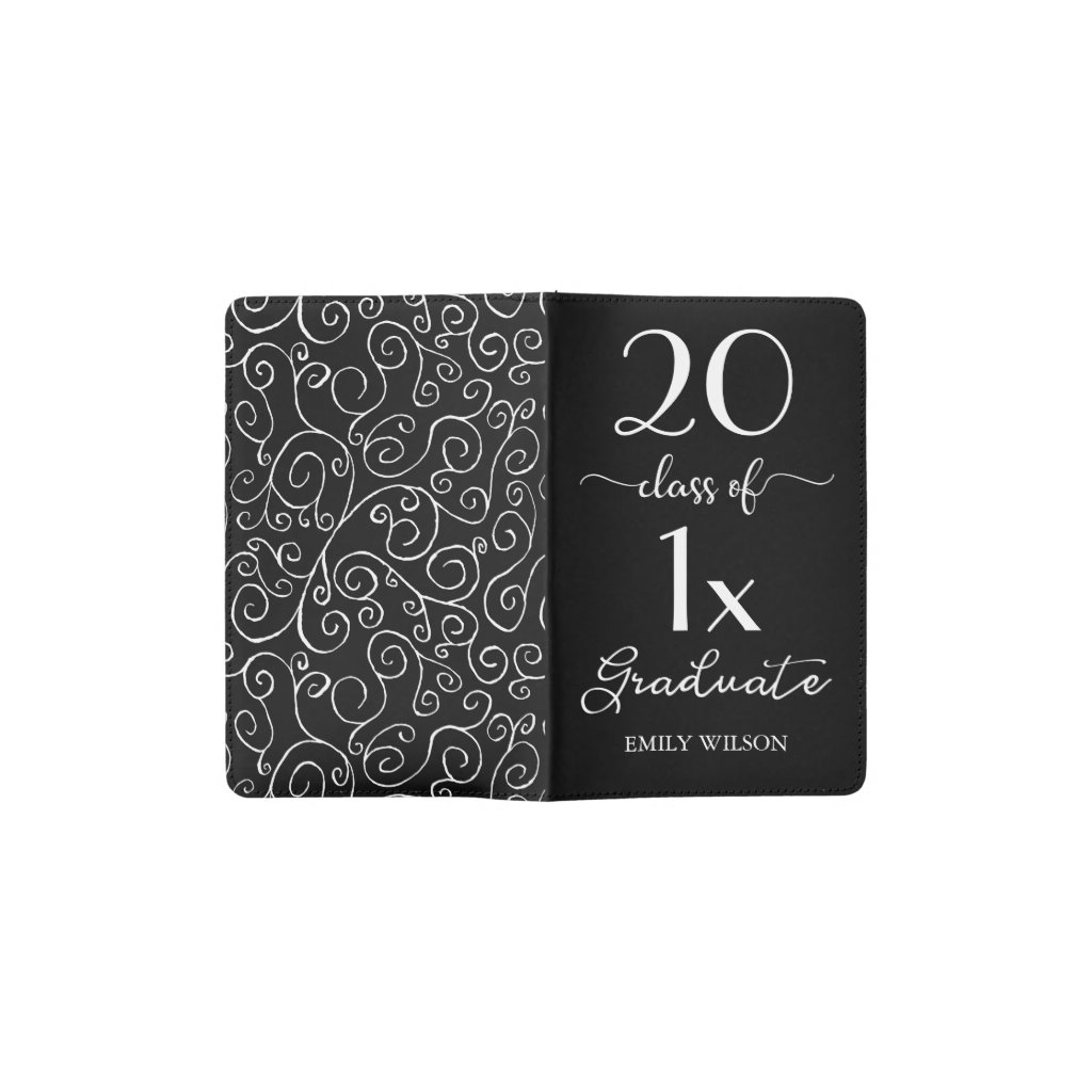 Elegant Class Of Custom Year Graduate Name Pattern Pocket Moleskine Notebook
