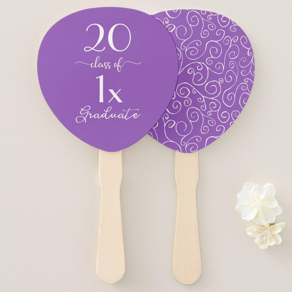 Elegant Class Of [YEAR] Graduate Violet Pattern Hand Fan