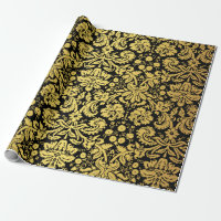 Elegant Classic Black and Gold Royal Damask Wrapping Paper