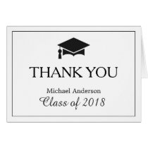 Elegant Classic Black White Graduation Thank You Card