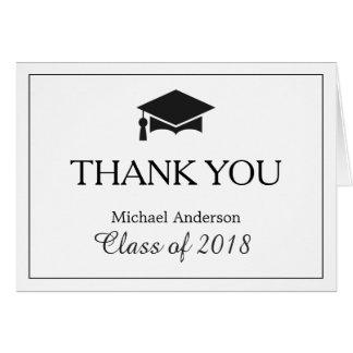 Elegant Classic Black White Graduation Thank You Card
