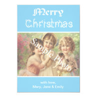 Elegant, classic blue Merry Christmas photo card Announcement