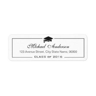 Elegant Classic Graduation Cap Grad Graduate Return Address Label