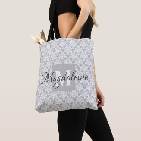 Elegant Classic Gray & Whit Damask Monogram & Name Tote Bag