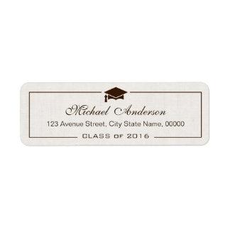 Elegant Classic Ivory Linen Graduation Graduate Label