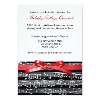 """Elegant classic music concert recital invitation 5"""" x 7"""" invitation card"""