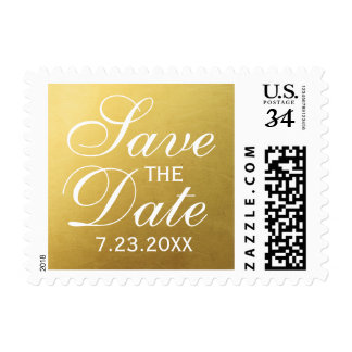 Elegant Classic Simple Gold Script Save The Date Postage
