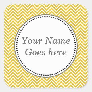 Elegant, classic sunny yellow chevron zigzag square sticker