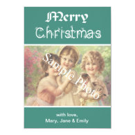 Elegant, classic teal  Merry Christmas photo card Personalized Announcements