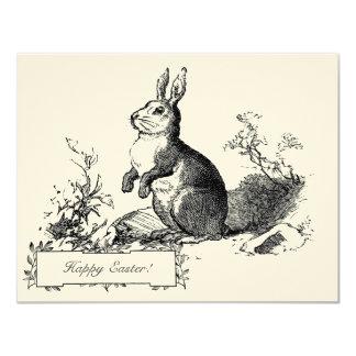 "Elegant Classic Vintage Bunny Easter Greetings 4.25"" X 5.5"" Invitation Card"
