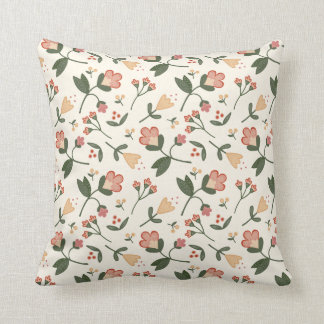 Elegant Classic Vintage Floral Ditsy Throw Pillow