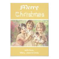 Elegant, classic yellow Merry Christmas photo card Personalized Invites