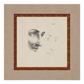 Elegant Classical Male Face in Profile Old French Poster