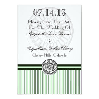 Elegant Classical Rosette Green and Black Personalized Invite