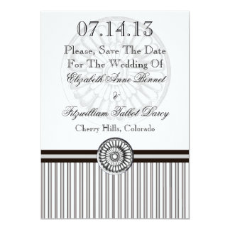 Elegant Classical Rosette Grey and Black Card