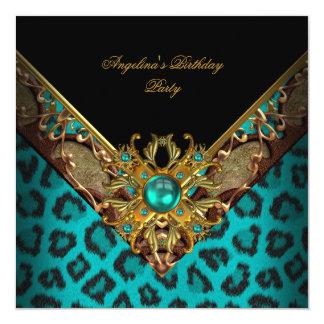 Elegant Classy Animal Jade Gold Birthday Party Card