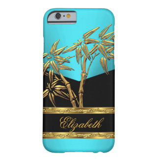 Elegant Classy Asian Bamboo BLUE TEAL Gold Black 2 Barely There iPhone 6 Case