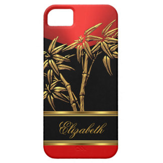 Elegant Classy Asian Bamboo Red Gold Black iPhone SE/5/5s Case