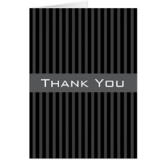 Elegant classy black and gray stripes Thank You Card