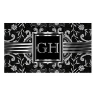 Elegant Classy Black Damask Brocade Silver Business Cards