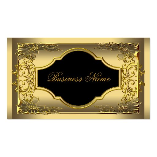 Elegant Classy Black Gold Profile Company Business Card Template