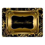 Elegant Classy Black Old Gold Damask Floral Business Card