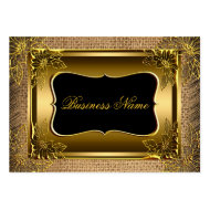 Elegant Classy Black Old Gold Rustic Burlap Business Card