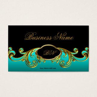 Elegant Classy Black Teal Blue Green Gold Floral Business Card